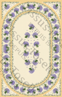 Lavender Tablecloth Rectangular  250cm with centre placed design Coated